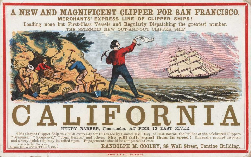 Sailing card for the clipper ship California, depicting scenes from the California gold rush.