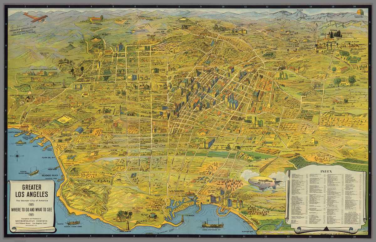 1932 Tourism Map of Greater Los Angeles