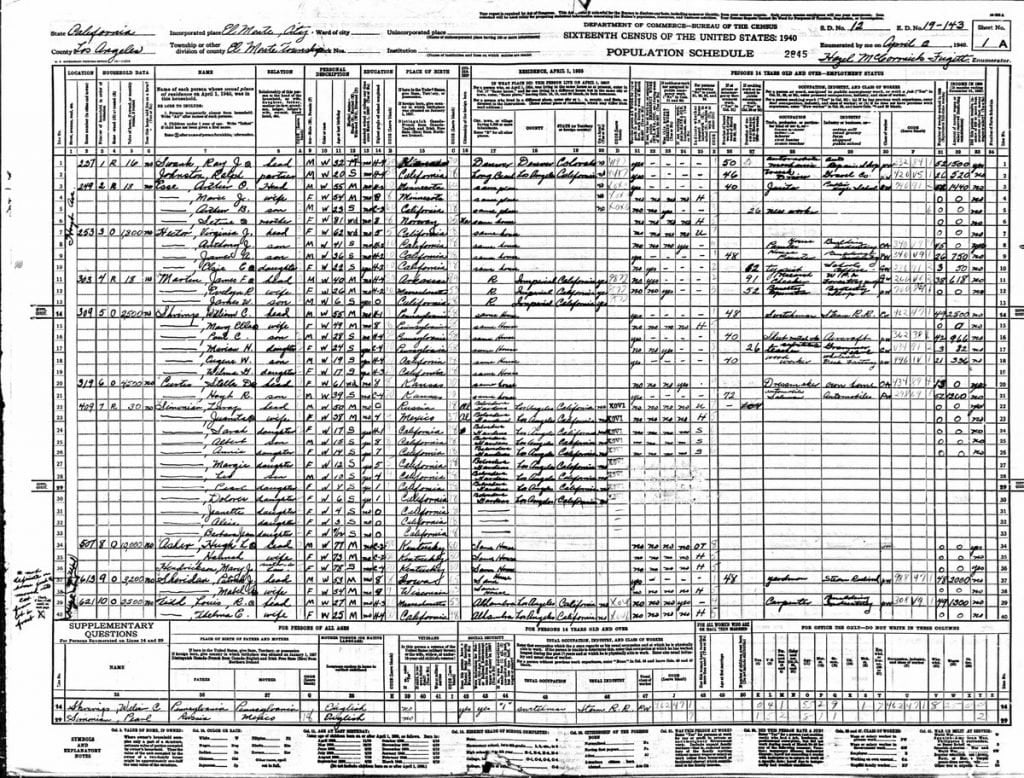 1940 Census for Hugh Asher