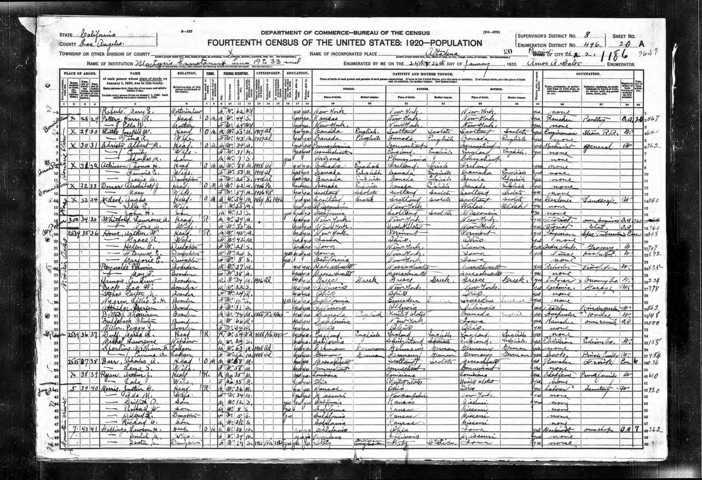 Cuddleback, Moses 1920 Census