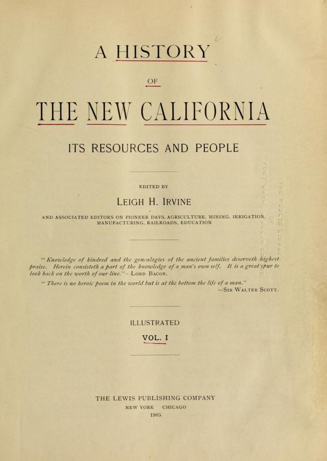 Title Page vol 1 The New California