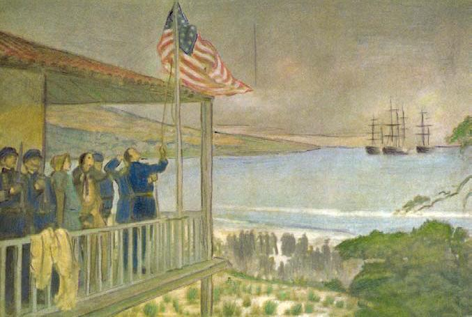 Batalla de Monterey - Sloat captures Monterey on July 7, 1846. Three days later, Frémont is officially informed the United States was at war with Mexico.