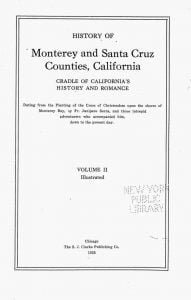 History of Monterey and Santa Cruz Counties, California Volume 2 Title Page