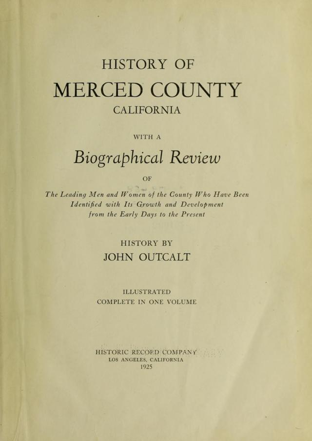 1925 History of Merced County - title page